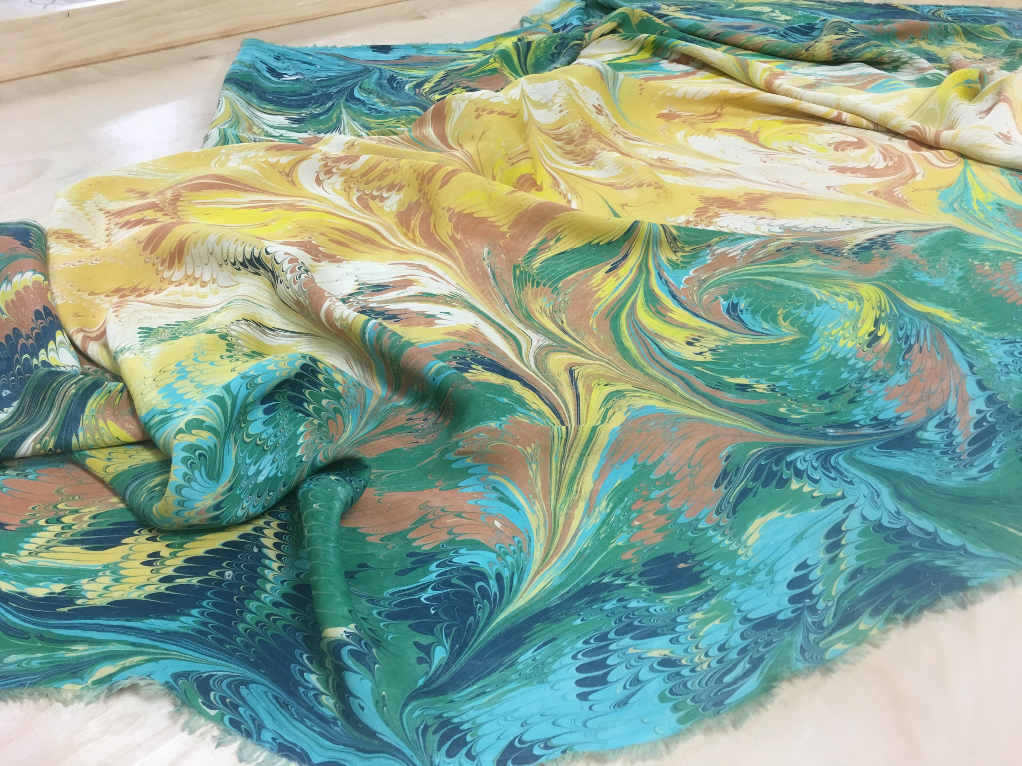 Fascinating Hand Painted Marbled Silk Fabric By The Yard